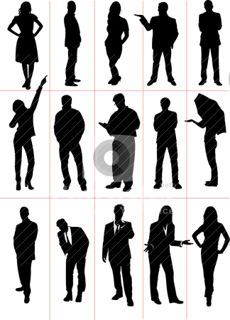 People  silhouettes. Vector illustration stock vector clipart, People  silhouettes. Vector illustration by Leonid Dorfman