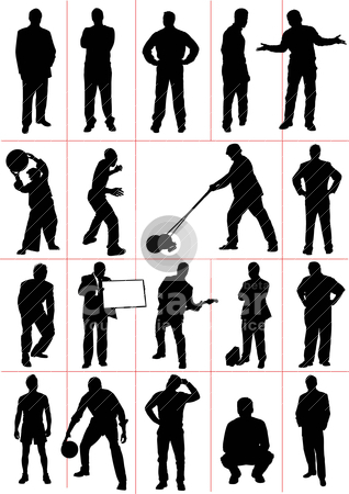 People  silhouettes. Worker. Sport. Vector illustration stock vector clipart, People  silhouettes. Worker. Sport. Vector illustration by Leonid Dorfman