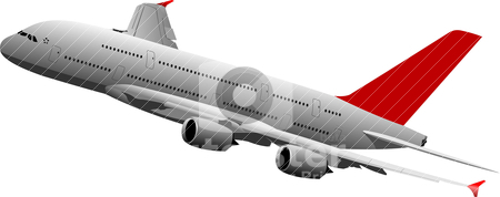 Passenger plane in air. Vector illustration stock vector clipart, Passenger plane in air. Vector illustration by Leonid Dorfman