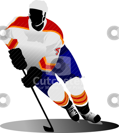 Ice hockey player. Vector illustration stock vector clipart, Ice hockey player. Vector illustration by Leonid Dorfman