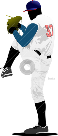 Baseball player. Vector illustration stock vector clipart, Baseball player. Vector illustration by Leonid Dorfman