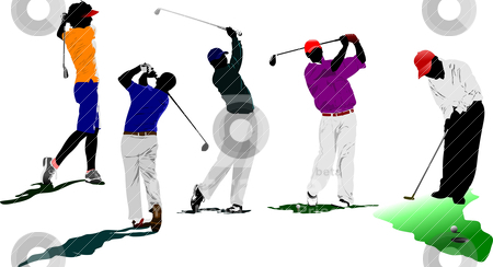 Golf players. Vector illustration  stock vector clipart, Golf players. Vector illustration  by Leonid Dorfman