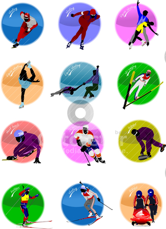 Winter sport silhouette icons. Vector illustration stock vector clipart, Winter sport silhouette icons. Vector illustration by Leonid Dorfman