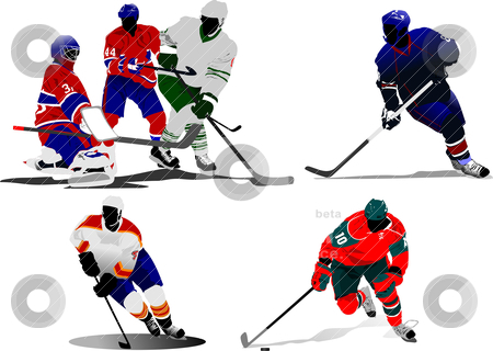 Ice hockey players. Vector illustration stock vector clipart, Ice hockey players. Vector illustration by Leonid Dorfman