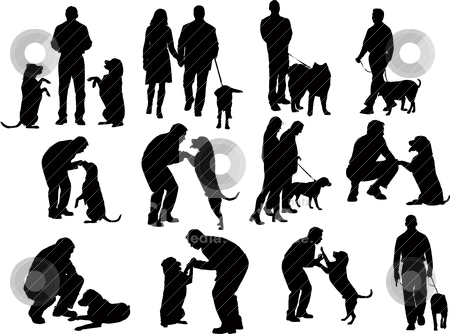 People silhouettes with dog stock vector clipart, people silhouettes with dog by Leonid Dorfman