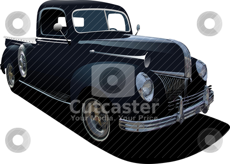 Black pickup truck with badges removed stock vector clipart, Black pickup truck with badges removed by Leonid Dorfman