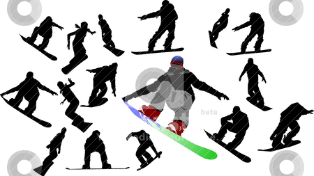 Snowboard man silhouettes. Vector illustration stock vector clipart, Snowboard man silhouettes. Vector illustration by Leonid Dorfman