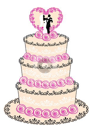 Wedding cake, vector stock vector clipart, wedding cake with couple, heart and roses, vector illustration by Beata Kraus