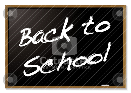 Back to school blackboard stock vector clipart, Back to school blackboard with wood frame by Michael Travers