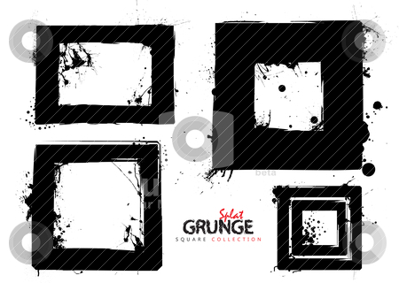 Grunge square collection stock vector clipart, Four black square grunge ink splat frames or borders by Michael Travers