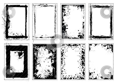 Splat grunge picture frame stock vector clipart, Grunge black ink splat frame border frame by Michael Travers