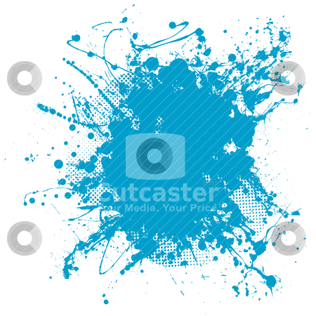 Blue blob stock vector clipart, Grunge ink splat background blob with halftone dots by Michael Travers