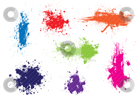 Ink splat grunge colour stock vector clipart, Ink splat grunge effect with dribble and drops by Michael Travers