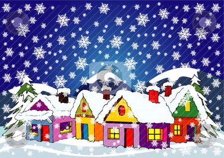 Village houses in winter stock vector clipart, illustration of village houses in winter by bobyramone