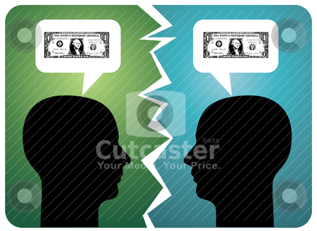Breakdown in communication stock vector clipart, Two men arguing about money. Vector available by Cienpies Design