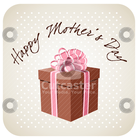 Greetings for Mother's day stock vector clipart, Beautiful gift box over a rounded square background. Includes greeting text for Mother's Day. Vector available by Cienpies Design