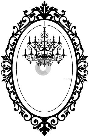 Vintage frame with chandelier stock vector clipart, Vintage, antique picture frame with baroque chandelier black silhouette, full scalable vector graphic, change the colors as you like. by Ela Kwasniewski