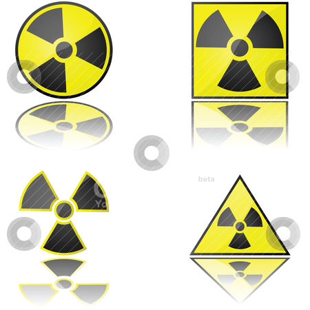 Radioactive stock vector clipart, Glossy illustration of the radioactivity warning sign in different formats by Bruno Marsiaj