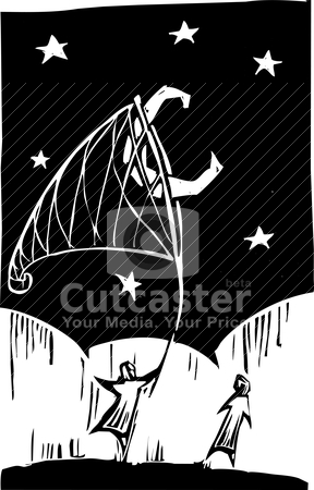 Netting the Moon stock vector clipart, Using an oversized net person captures the moon. by Jeffrey Thompson