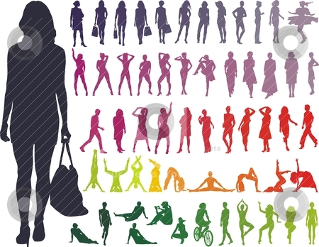 Silhouettes Women - Vector  stock vector clipart, Women Collection, color on white vector silhouettes illustration by Vladim?
