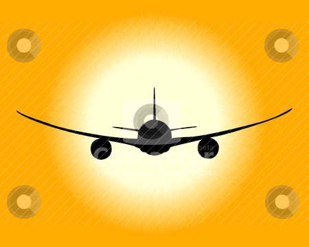 Black silhouette of an airplane stock vector clipart, black silhouette of an airplane on an orange background by Yuriy Mayboroda