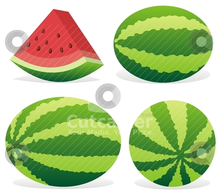 Watermelon icons stock vector clipart, Three ripe watermelons and a slice isolated on white background. by fractal.gr