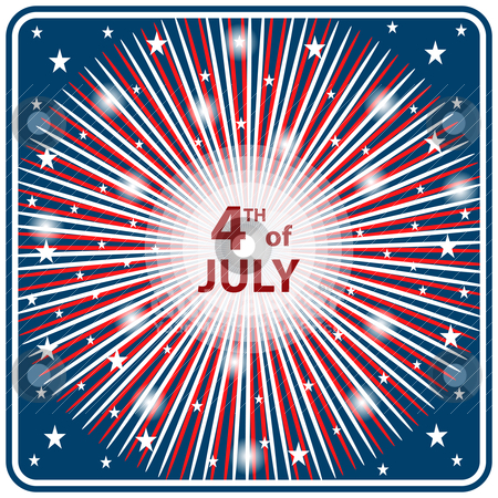 4th July independence day starburst stock vector clipart, American flag colors in a starburst firework effect symbolizing 4th of July independence day celebrations. by toots77