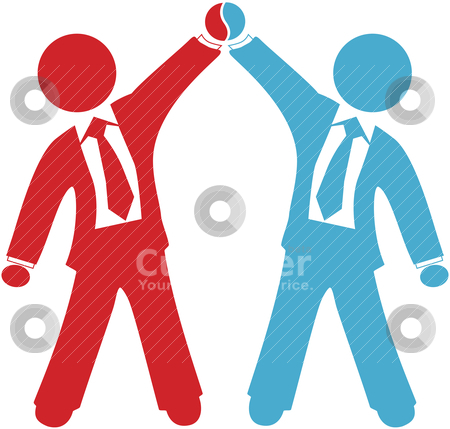 Business people celebrate deal agreement success stock vector clipart, Business people celebration of collaboration deal agreement merger or partnership success by Michael Brown