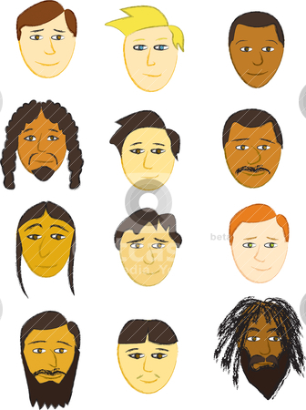 Assorted Faces stock vector clipart, Twelve Male faces of various ethnicities. by Jamie Slavy