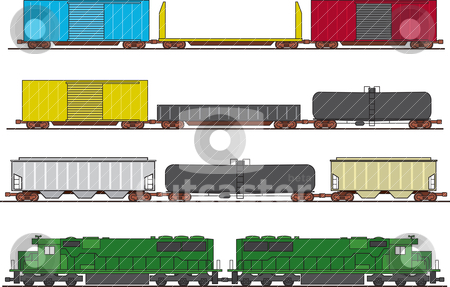 Freight Train stock vector clipart, Assorted common North American freight cars and two diesel engines. Cars and engines can be copied and pasted to form a large train. by Jamie Slavy
