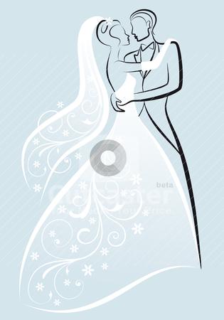 Wedding couple, vector stock vector clipart, bride and bridegroom kissing, vector illustration by Beata Kraus