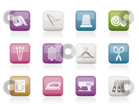 Textile objects and industry   icons  stock vector clipart, Textile objects and industry   icons - vector icon set by Stoyan Haytov