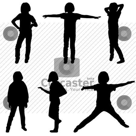 Little or teenage girls silhouettes stock vector clipart, Little or teenage girls silhouettes set, vector illustration by Mykhaylo Kushch