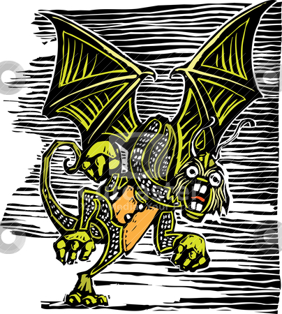 Jabberwocky stock vector clipart, Jabberwocky from from Lewis Carroll's Alice in Wonderland. by Jeffrey Thompson