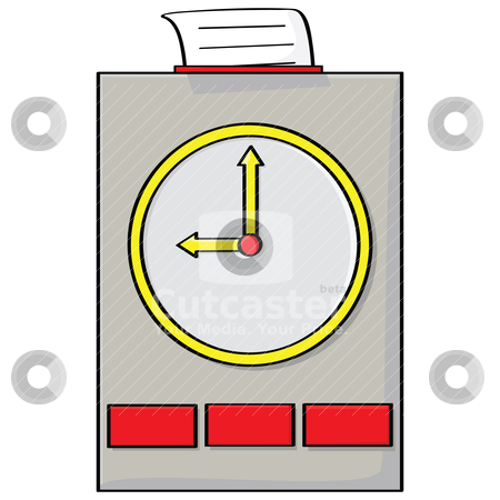 clock stock vector clipart, Cartoon illustration of a punch clock ...