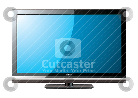 Modern LCD flat blue screen stock vector clipart, Modern flat screen television with blue monitor by Michael Travers