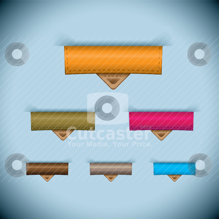 Paper tab icon leather tag set stock vector clipart, Paper tag with leather tag and room for text on blue background by Michael Travers