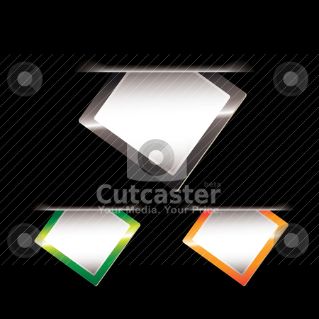 Paper tag slip black stock vector clipart, Black background with slip of paper with blank space for text by Michael Travers
