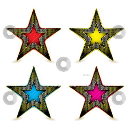 Metal hexagon star award stock vector clipart, Collection of four gold metal star icons with colourful inserts by Michael Travers