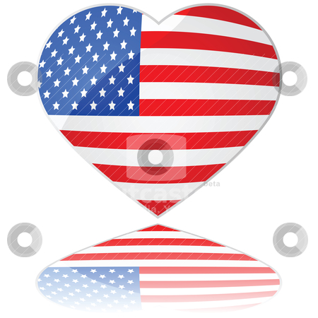 Love USA stock vector clipart, Glossy illustration showing a heart with the flag of the United States of America by Bruno Marsiaj