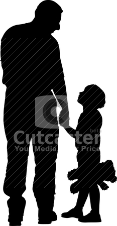 Daddy and child illustration stock vector clipart, Vector illustration of daddy and child by olinchuk