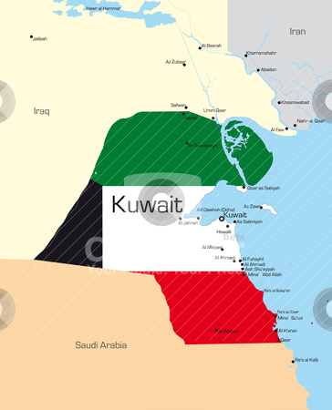 Kuwait  stock vector clipart, Abstract vector color map of Kuwait country colored by national flag by olinchuk