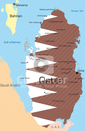 Qatar  stock vector clipart, Abstract vector color map of Qatar country colored by national flag by olinchuk