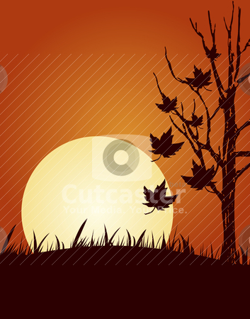 Autumn illustration stock vector clipart, Abstract vector illustration of autumn background by olinchuk