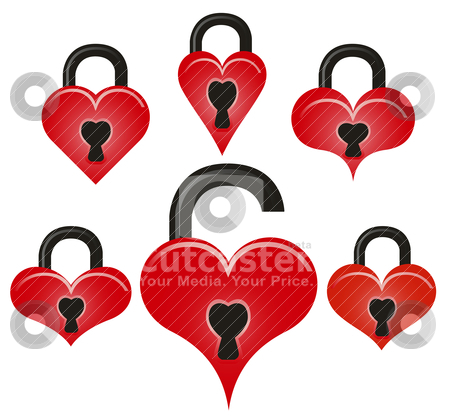Lock and unlock red hearts stock vector clipart, Abstract vector lock and unlock red hearts on white background by olinchuk