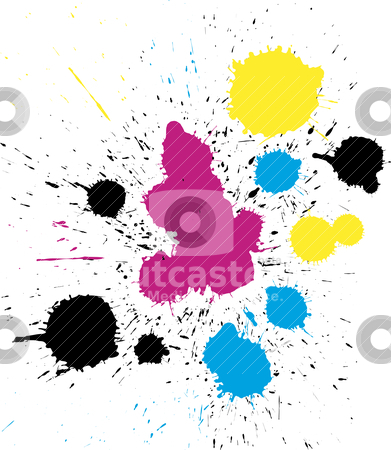 Vector grungy colorful CMYK paint drops stock vector clipart, Abstract vector grungy colorful CMYK paint drops by olinchuk