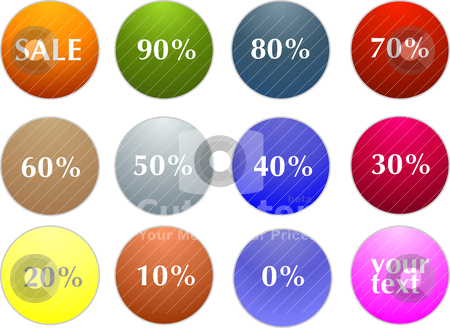 Sale tag stickers with discount  stock vector clipart, Abstract vector sale tag stickers with discount  by olinchuk