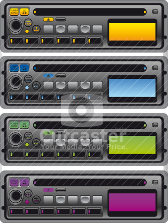 Different panel of cassette radio stock vector clipart, Vector illustration of different panel of cassette radio by olinchuk