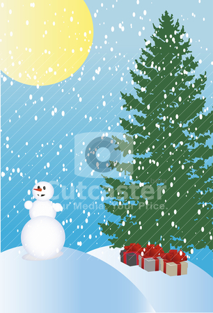 Winter holiday background stock vector clipart, Abstract vector illustration of winter holiday background by olinchuk