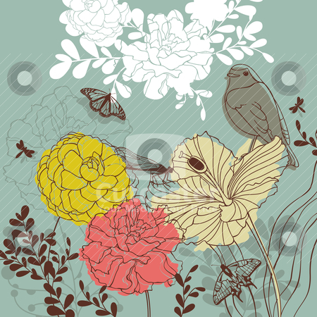 Lovely floral card stock vector clipart, abstract cute lovely floral card vector illustration by SelenaMay